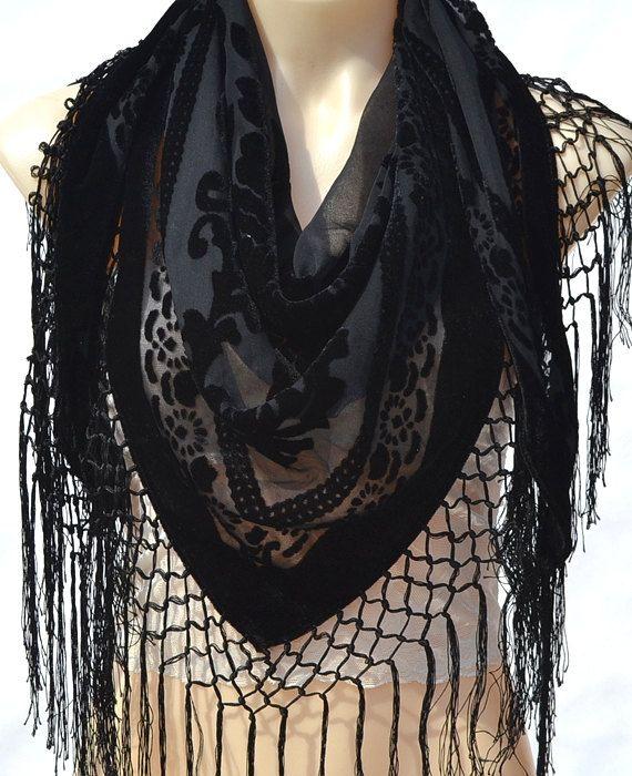 high end fashion flocking scarf black silk scarf velvet