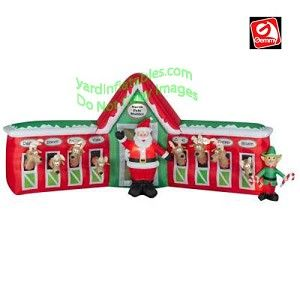 13' Santa Stable 8 Reindeer Scene   Christmas Decor   Pinterest