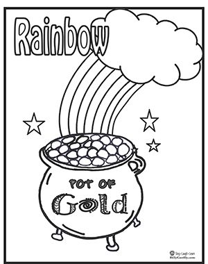 Rainbow pot of gold coloring page