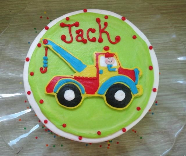 Learn how to make this tow truck (or any kind of picture) on top of cakes-Easier than it looks!