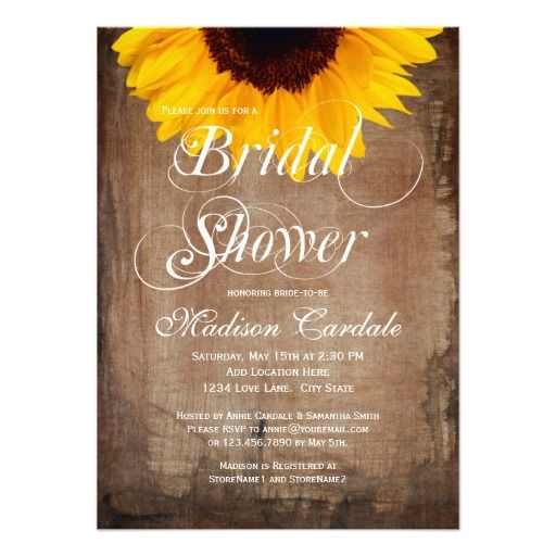 Rustic Country Sunflower Bridal Shower Invitations. $1.95