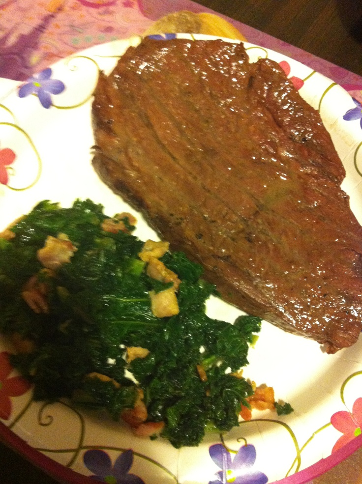 Hickory smoked steak with bacon sautéed kale. So hearty couldn't ...