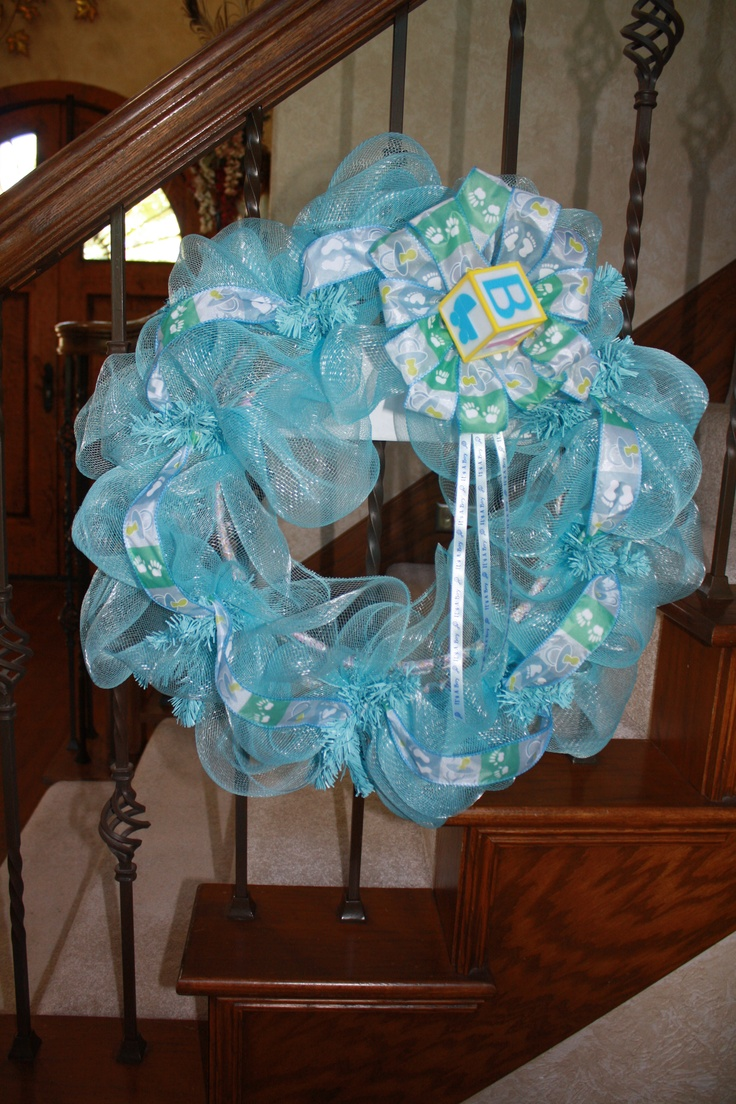 Pin by pampered chef lady on birth wreaths pinterest for Baby boy hospital door decoration