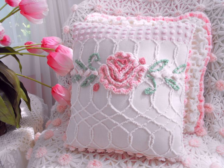 Vintage синели Лоскутная подушка