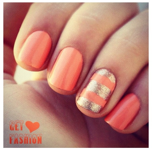 View Images Peach Nail Design Art And Gold My