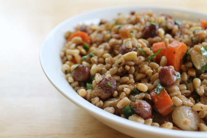 Warm Farro Salad with Roasted Pearl Onions, Carrots, and Grapes