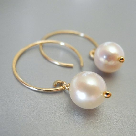 Simple pearl earrings white cream ivory gold bridal jewelry