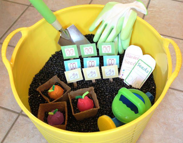 Planting Sensory Bin; black beans as soil!!