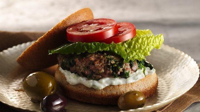 Greek Pita Burgers with Spinach, Feta and Tzatziki Sauce | Recipe
