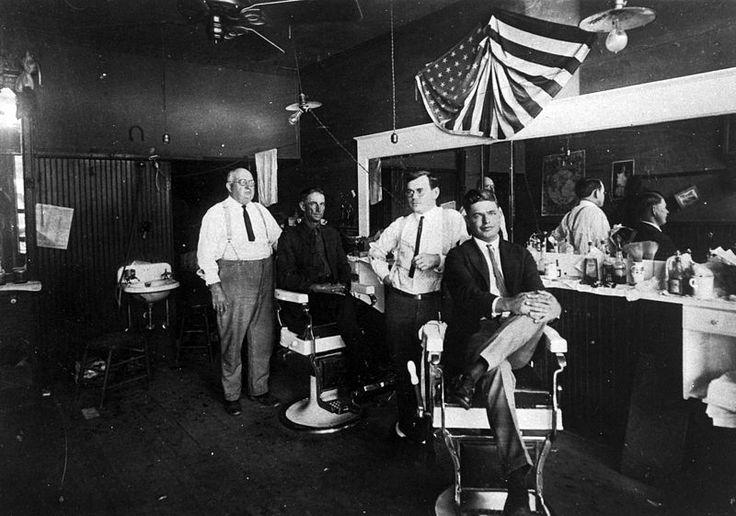 Interior of a barber's shop, circa 1920