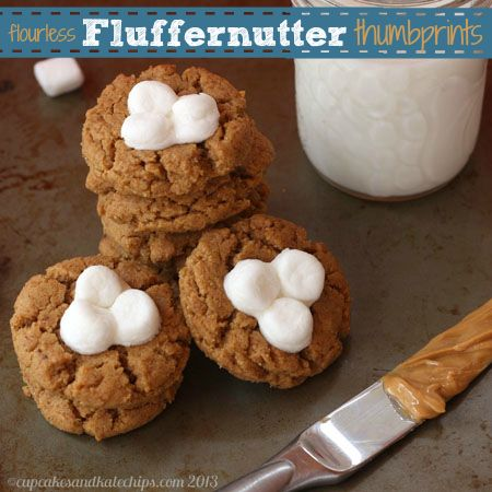 flourless) Fluffernutter Thumbprint Cookies for #CookieWeek | Recipe
