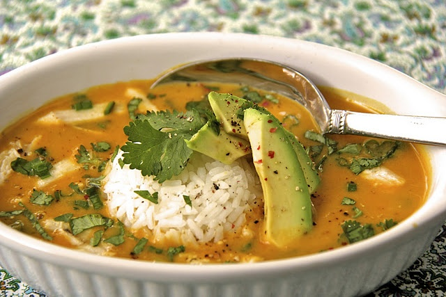 Curried Coconut Pumpkin Soup w/ Chicken and Jasmine Rice