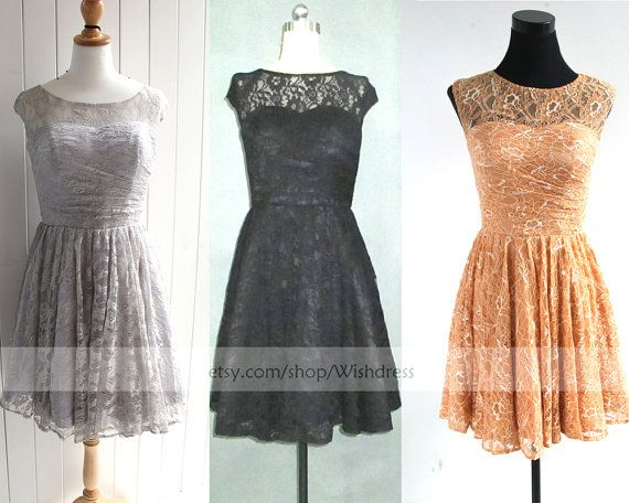 Black And Silver Lace Bridesmaid Dresses 77