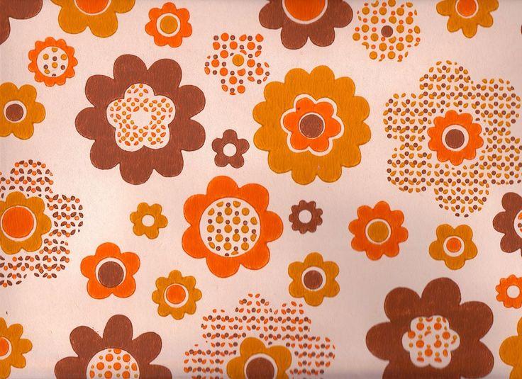 Vintage 1970s orange funky flower wallpaper price is per yard - Papier peint vintage 70 ...