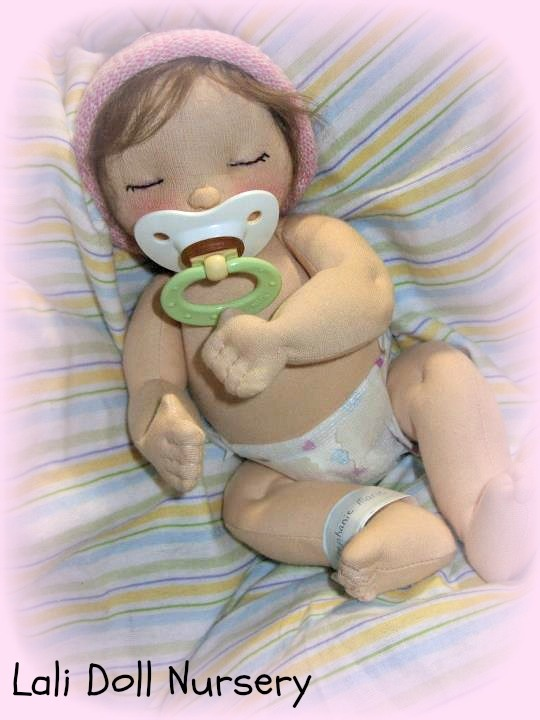 "Sleeping newborn 12"" waldorf inspired baby doll."