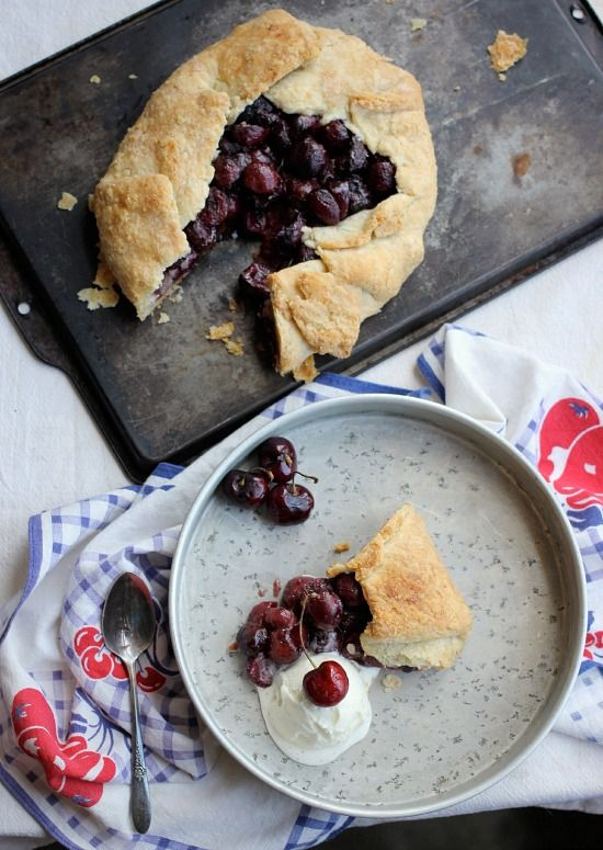 "Free-Form Bourbon Soaked Cherry Pie ~ via this blog, ""Baker Bettie""."