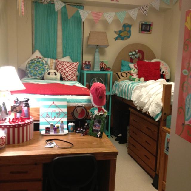 Our dorm room!! )  Dorm Room Ideas  Pinterest ~ 054541_Aqua Dorm Room Ideas