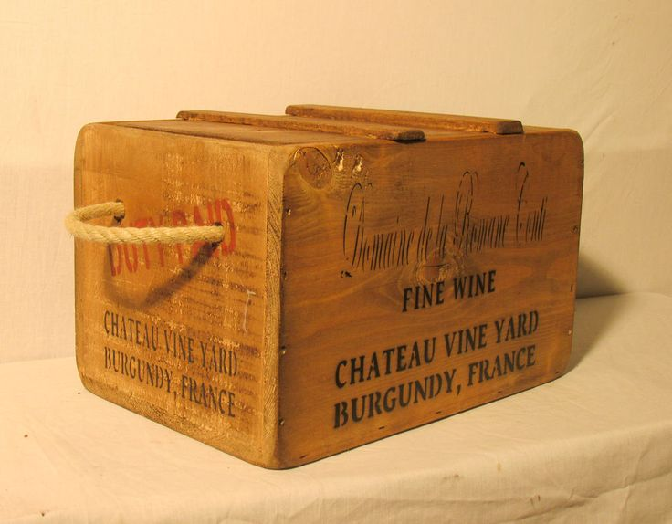 Vintage antiqued wooden box crate french wine chest for Where can i find old wine crates