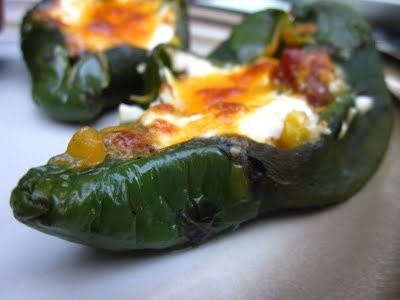 Baked Chile Rellenos with Corn and Crema | Mexican | Pinterest