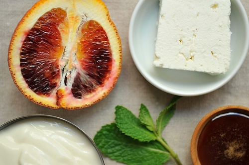 Feta Frozen Yogurt with Blood Orange and Mint Granita.