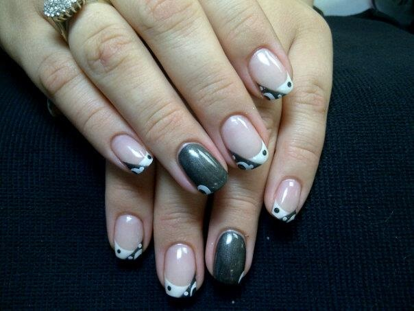 black and white gel nails | Nails | Pinterest