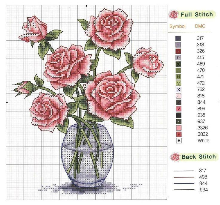 Вышивка крестом схемы цветы в вазе 51