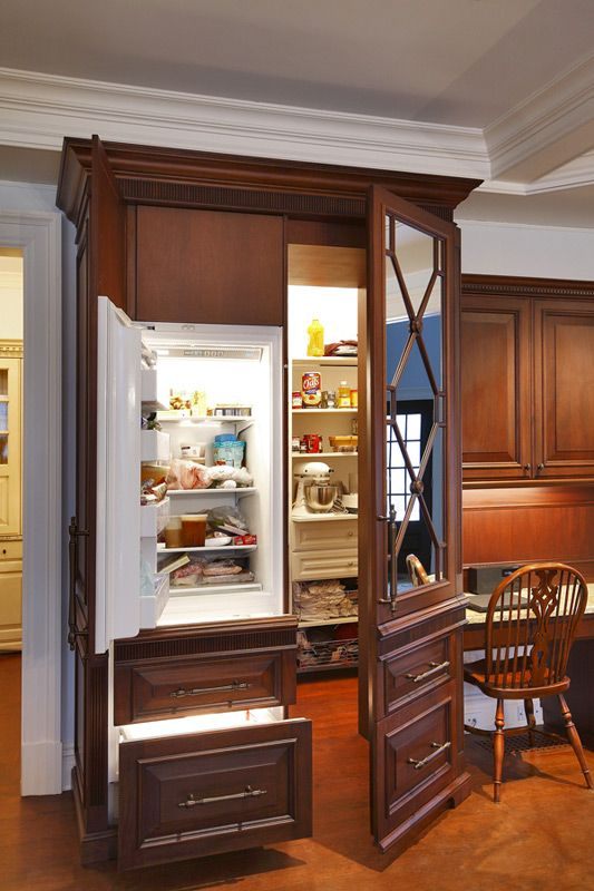 Neat hidden freezer and pantry dream home pinterest for Hidden pantry