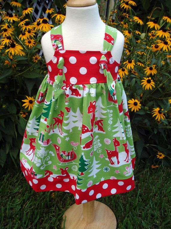 Girls knot dress christmas yule critters sizes 6 9 months 4t by baby