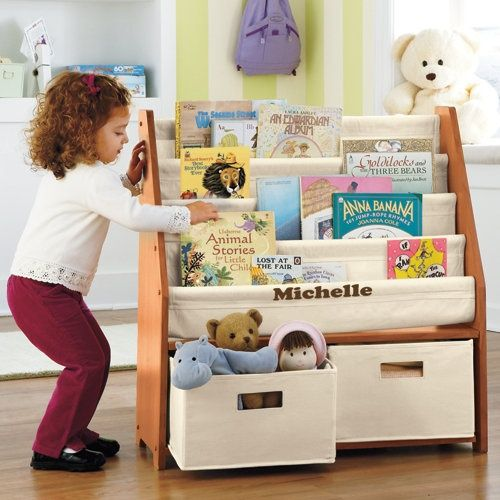 Kids sling bookshelf with storage bins perfect for getting our
