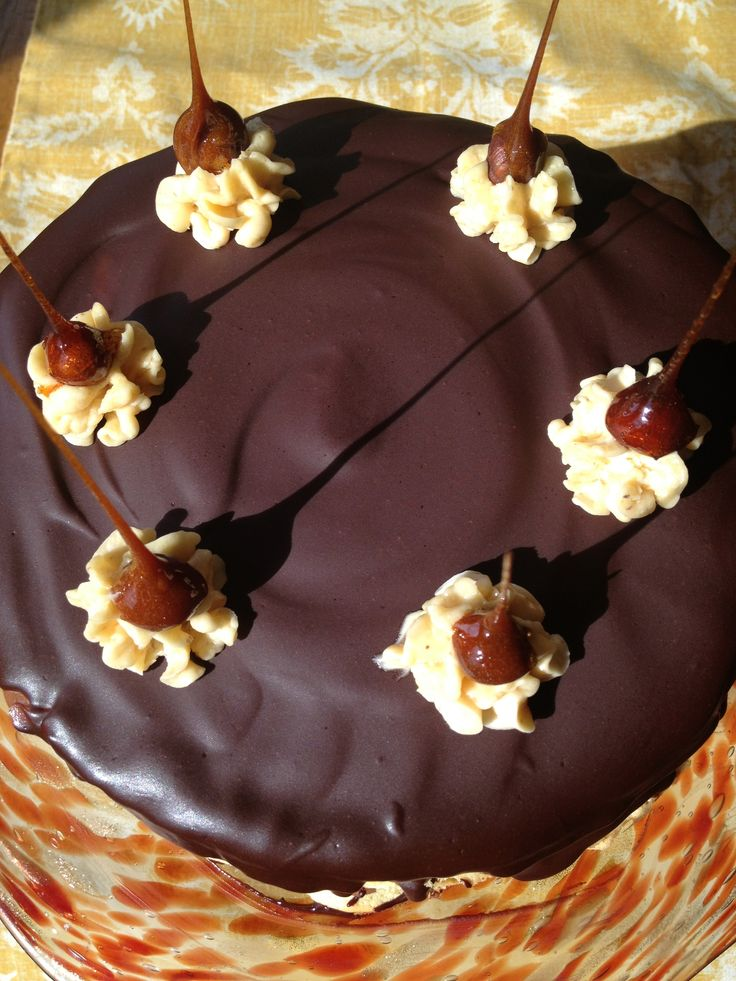 ... and caramel praline buttercream and topped with chocolate ganache