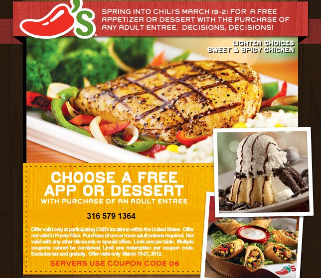 Chilis Coupons Free Appetizer Or Dessert