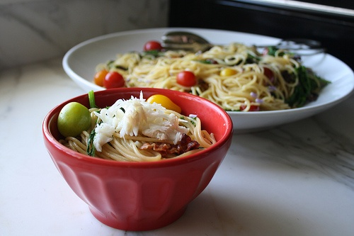 BLT pasta topped with crab | All About Crab | Pinterest