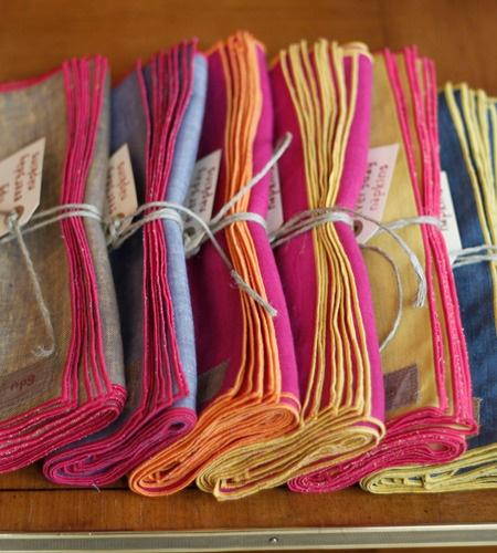 rainbow linen napkins