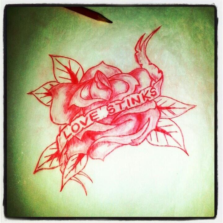 Rose Tattoo sketch   Love Stinks  By - RanzLove Rose Sketch