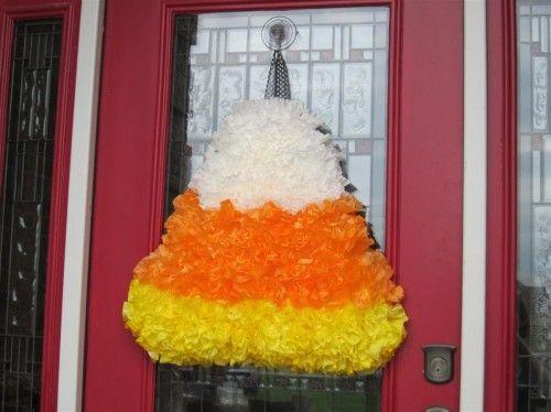 candy corn coffee filter wreath