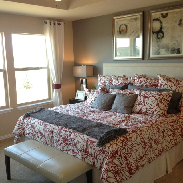 grey and red bedroom bed time pinterest