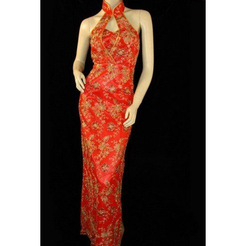 Periwing red satin halter top sequins embroidery chinese wedding dress
