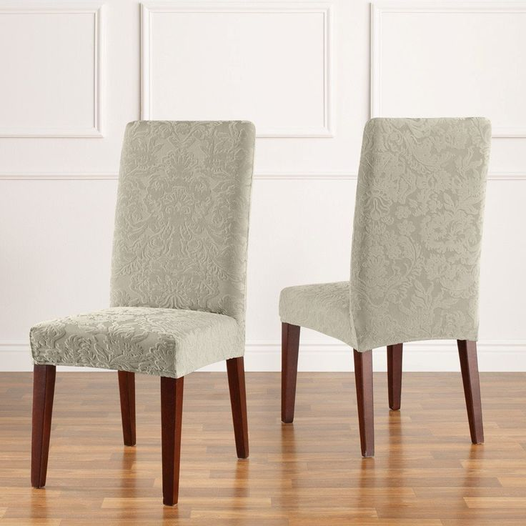 sure fit stretch jacquard damask short dining room chair cover casa