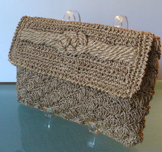 Vintage Crocheted Hemp Clutch Bag Made in Japan by TheOldBagOnline, $ ...