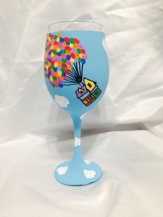 Disney s up inspired hand painted wine glass by awhimsicalhoot 20