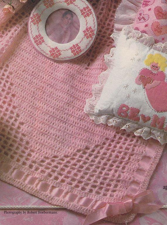 Crochet Afghan Patterns Hearts : Heart Filet Afghan Crochet Pattern