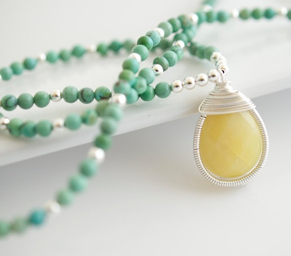 Turquoise and Yellow Opal Necklace  Turquoise by Jewels2Luv, $42.50