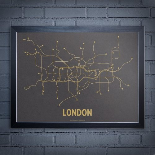 London Subway Map Art by Lineposters