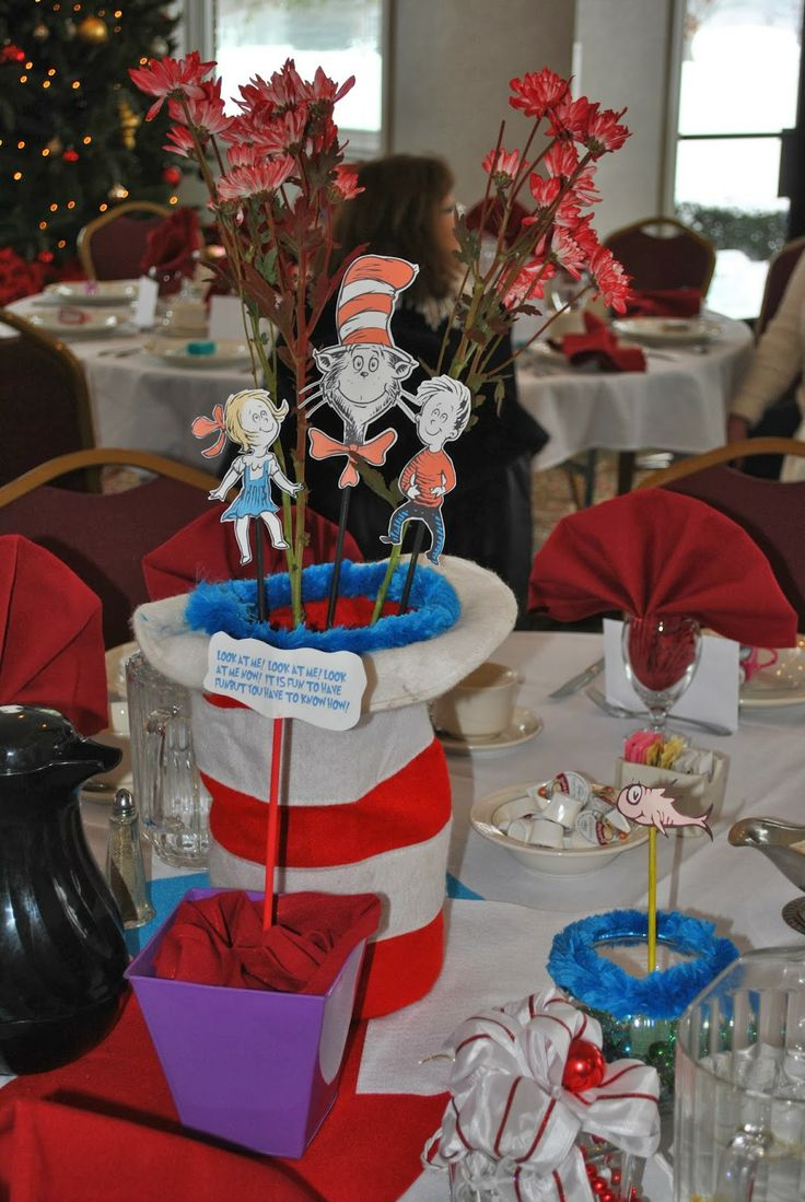 the cat in the hat baby shower centerpiece