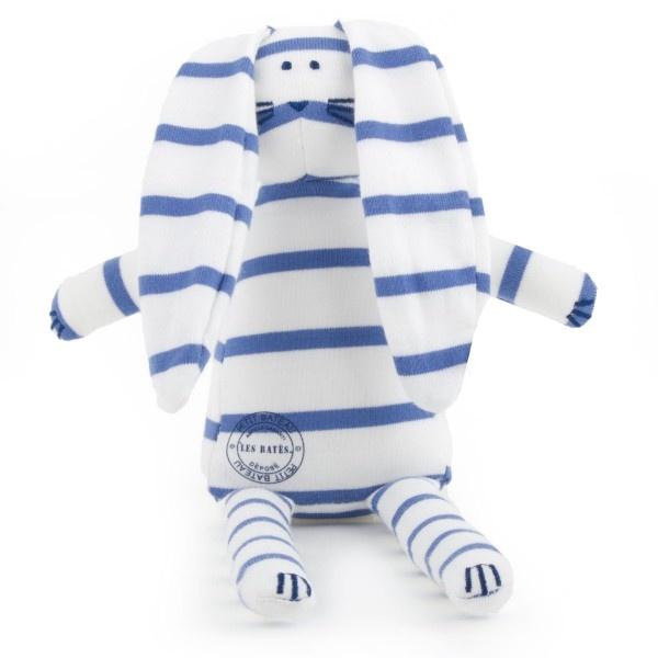 Petit Bateau Dark Blue and white striped toy rabbit at alexandalexa.com