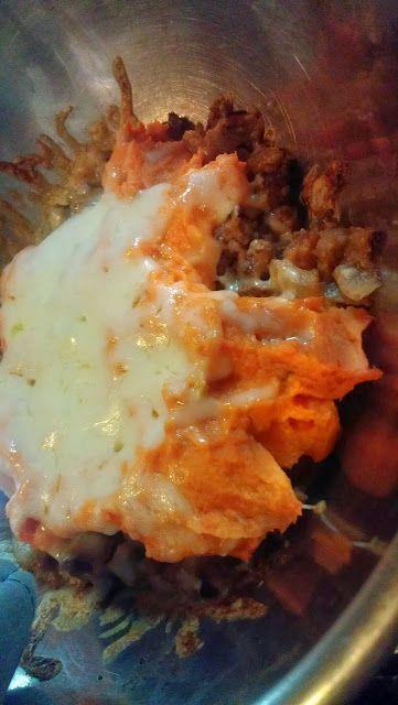 Sweet potato shepards pie almond flour almond milk turkey gravy