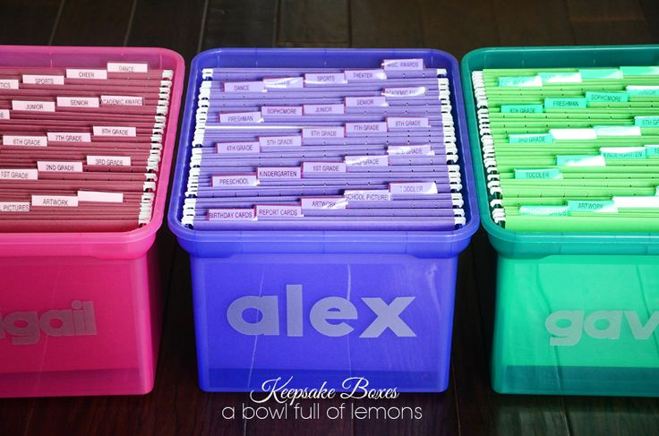 Kids Keepsake boxes - like the idea of color coded boxes, and then files for each school year.