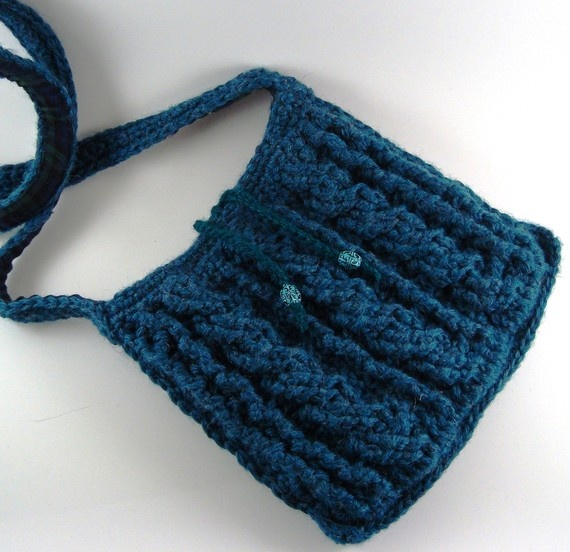 Cross-Body Bag, Crochet Cables Textured (hip purse, lined)