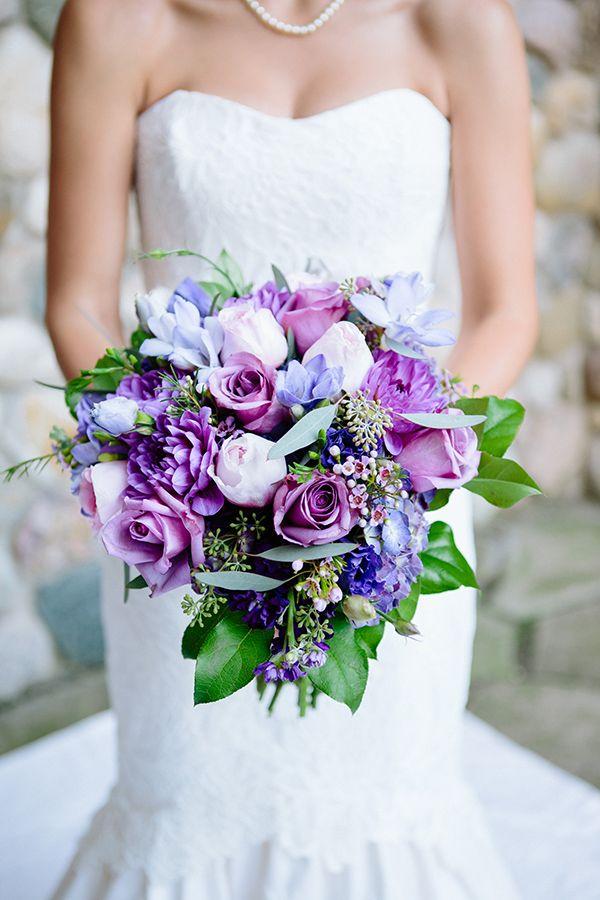 purple wedding bouquet http://www.weddingchicks.com/2013/10/23/equestrian-wedding/