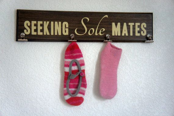 Seeking Sole Mates #Laundry Wall Plaque Sign Sock by Frameyourstory, $34.95